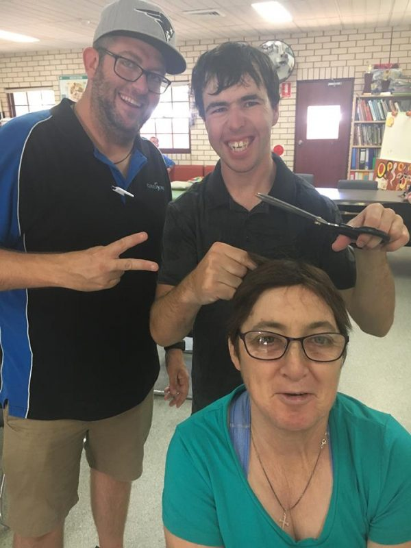 CDS Support Worker Doug Pout with clients Blake Huntly and Fiona McGonigal.