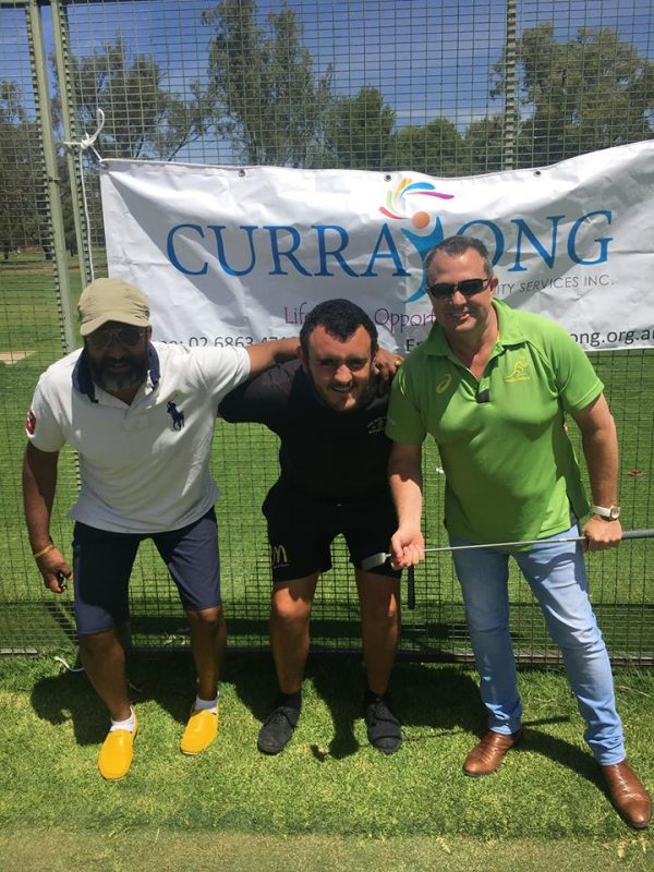 Sanu Maliyil, Thomas Davis and Jeff Evans of CDS ready for the Forbes Currajong Charity Golf Day.