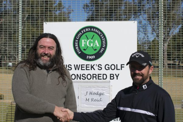 Dane Millerd of Currajong with Forbes Golf Club Pro Simon Houston at Forbes Golf Club.