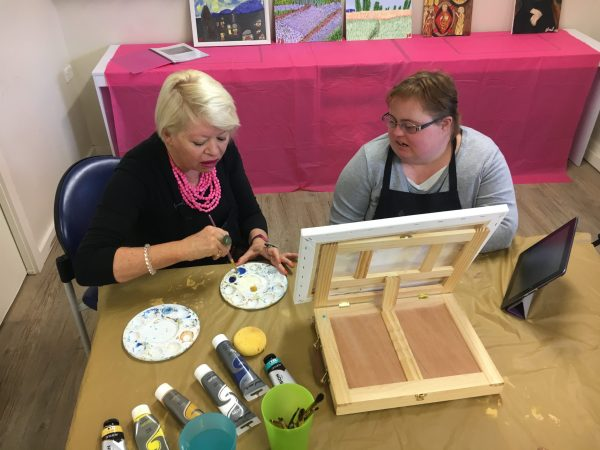 Art Therapist Maralyn Nash with Sarah Bowkett