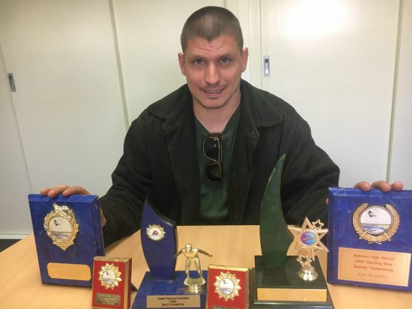 Ian 'Thorpedo' Kaupke with his historical haul of trophies.