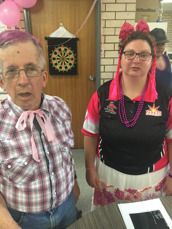 John Carey and Tara Dennis at Pink Ribbon Day at CDS
