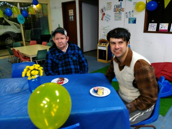 Ross MCulloch and John Dwyer at the Condobolin Biggest Morning Tea last week.