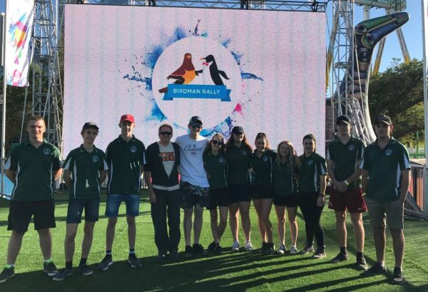 From left, Nicholas Strudwick, Joel Hall-Matthews, Jesse Magill, Phil Seeley (the flyer), Ethan Peters, Elly Collins, Madelynne Capple, Chelsea Johnson, Mikeely Bermingham, Michelle Mulligan, Joshua Davison and Mark Allen from the Parkes Christian School.