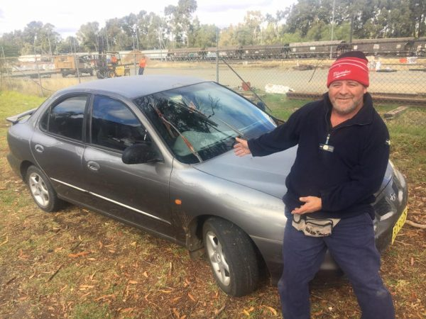 Brad Gibson with the Bogan Mobile