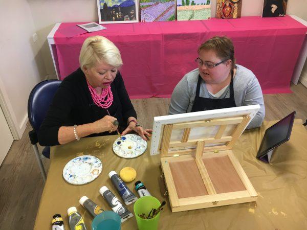 Art Therapist Maralyn Nash with Sarah Bowkett