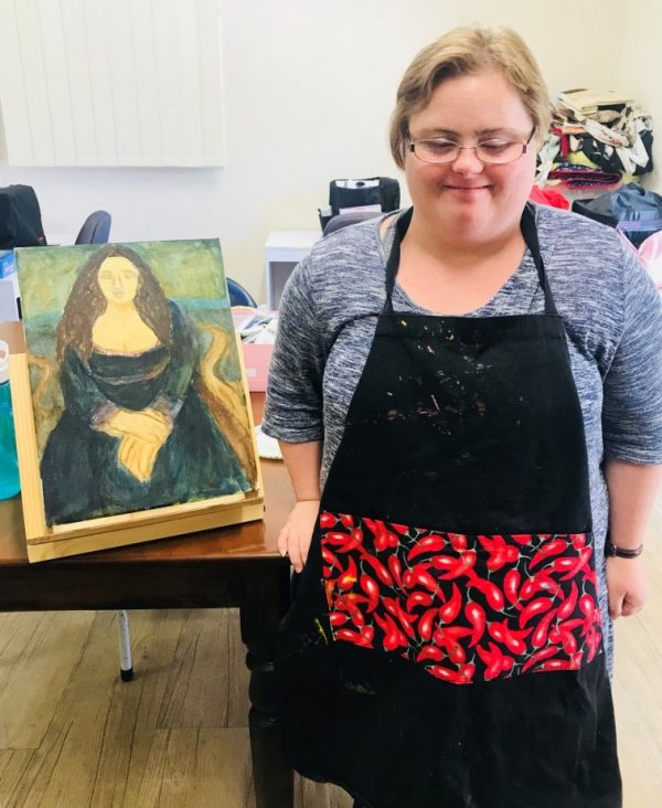 Sarah Bowkett with her latest Mona Lisa inspired piece