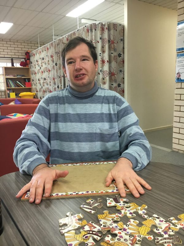 Shane Spicer completing a puzzle at CDS this week.